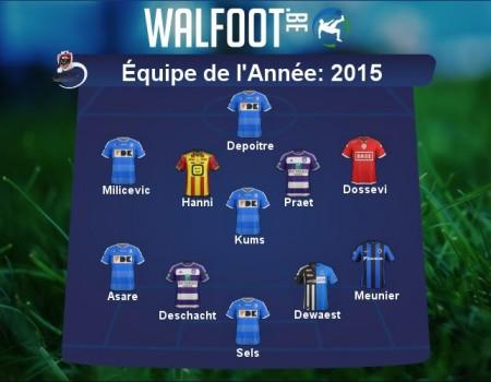 Seb dans l'équipe type de l'année 2015 en Jupiler Pro League (Walfoot.be)